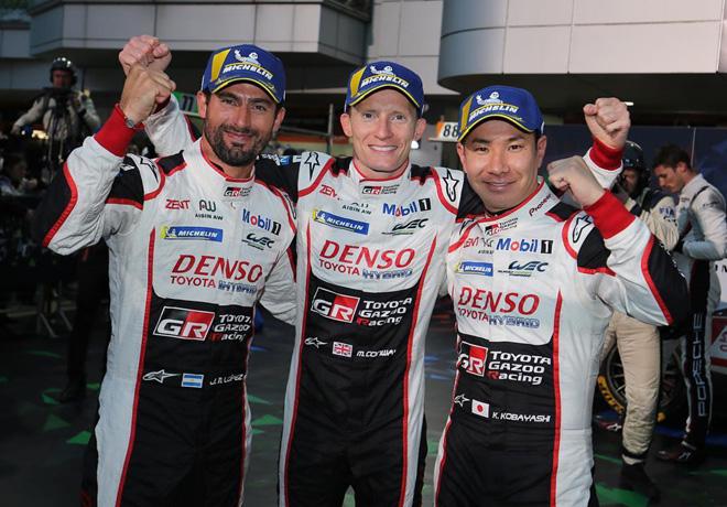 WEC - 6 hs de Fuji 2018 - Jose Maria Lopez - Mike Conway - Kamui Kobayashi en el Podio