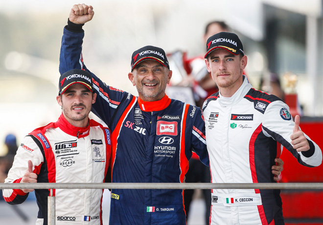 WTCR - Suzuka - Japon 2018 - Carrera 3 - Aurelien Comte - Gabriele Tarquini - Kevin Ceccon en el Podio