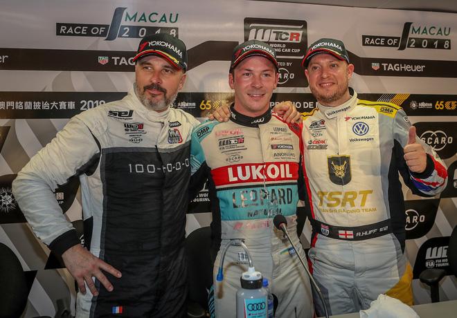 WTCR - Macao 2018 - Carrera 1 - Yvan Muller - Jean-Karl Vernay - Robert Huff en el Podio