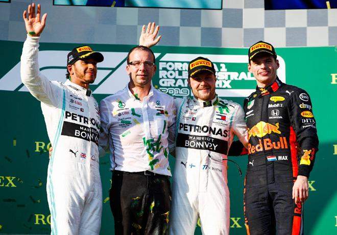 F1 - Australia 2019 - Carrera - Lewis Hamilton - Valtteri Bottas - Max Verstappen en el Podio