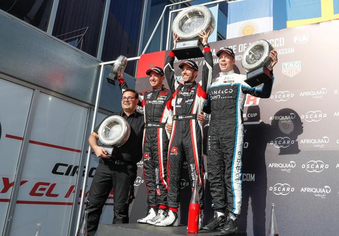WTCR - Marrakech - Marruecos 2019 - Carrera 1 - Nestor Girolami - Esteban Guerrieri - Thed Bjork en el Podio