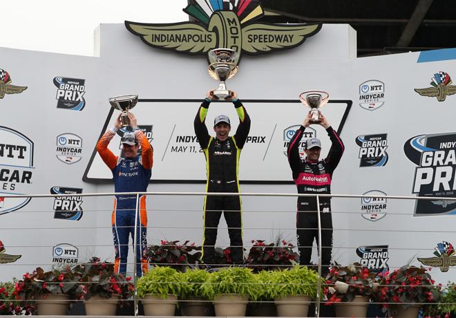 IndyCar - Indianapolis 2019 - Carrera - Scott Dixon - Simon Pagenaud - Jack Harvey en el Podio