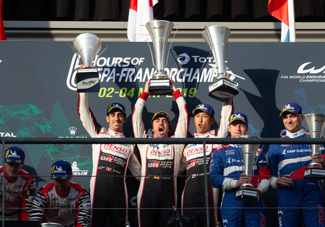 WEC - 6 hs de Spa-Francorchamps 2019 - Sebastien Buemi - Fernando Alonso - Kazuki Nakajima en el Podio