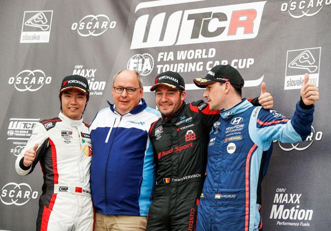 WTCR - Eslovaquia 2019 - Carrera 1 - Ma Qing Hua - Frederic Vervisch - Norbert Michelisz en el Podio