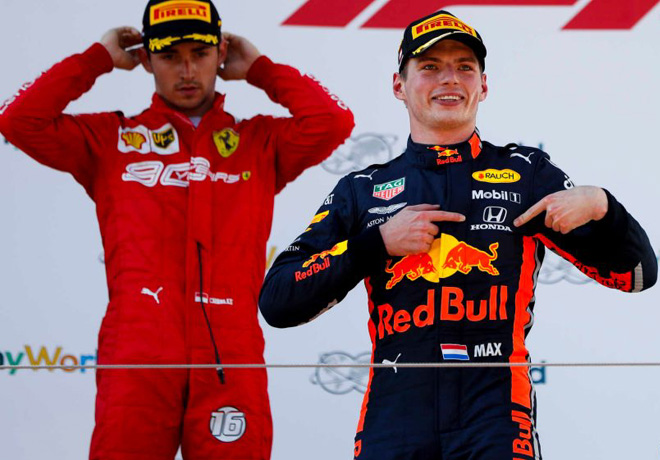 F1 - Austria 2019 - Carrera - Charles Leclerc y Max Verstappen en el Podio
