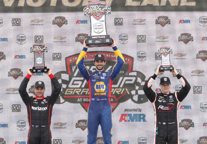 IndyCar - Road America 2019 - Carrera - Will Power - Alexander Rossi - Josef Newgardenen en el Podio
