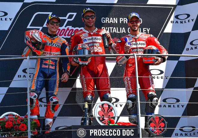 MotoGP - Mugello 2019 - Marc Marquez - Danilo Petrucci - Andrea Dovizioso en el Podio