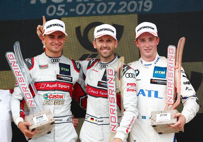 DTM - Norisring 2019 - Carrera 1 - Nico Mueller - Rene Rast - Joel Eriksson en el Podio
