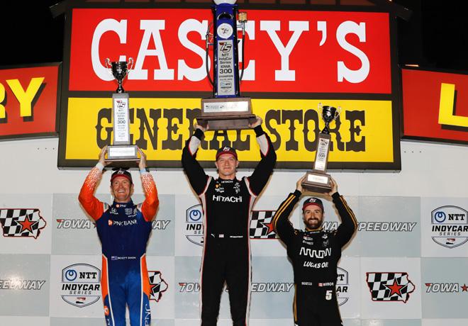 IndyCar - Iowa 2019 - Carrera - Scott Dixon - Josef Newgardenen - James Hinchcliffe en el Podio