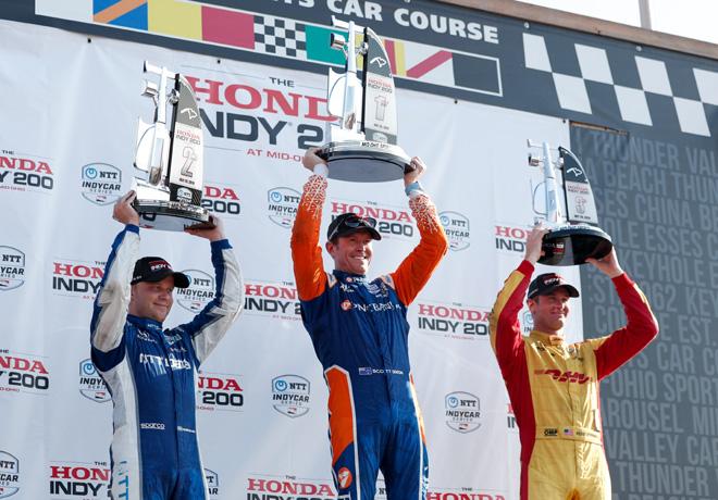 IndyCar - Mid-Ohio 2019 - Carrera - Felix Rosenqvist - Scott Dixon - Ryan Hunter-Reay en el Podio