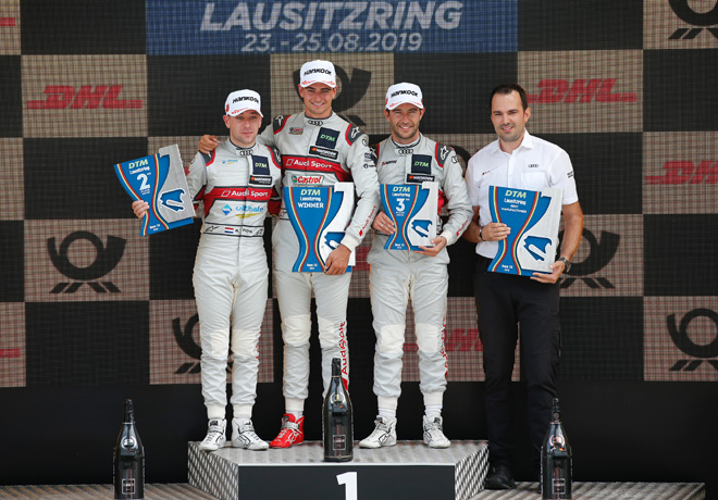 DTM - Lausitzring 2019 - Carrera 1 - Robin Frijns - Nico Muller - Mike Rockenfeller en el Podio