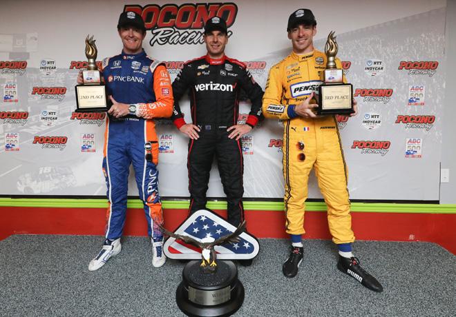 IndyCar - Pocono 2019 - Carrera - Scott Dixon - Will Power - Simon Pagenaud en el Podio