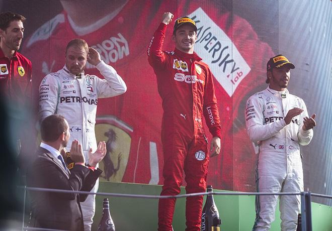 F1 - Italia 2019 - Carrera - Valteri Bottas - Charles Leclerc - Lewis Hamilton en el Podio