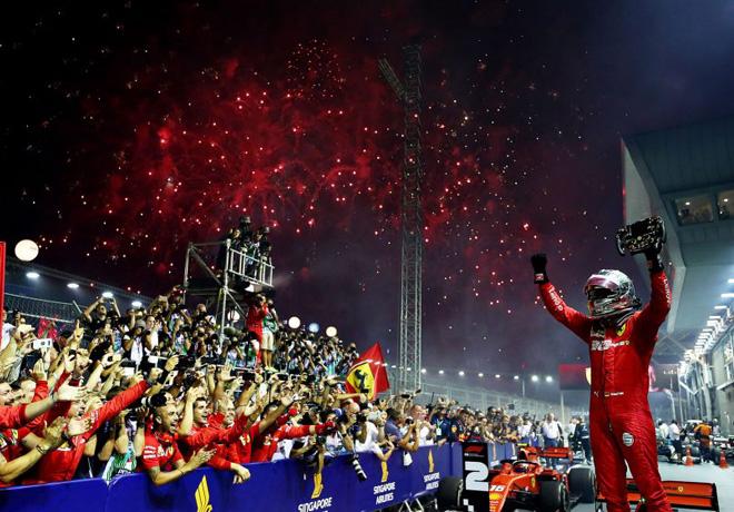 F1 - Singapur 2019 - Carrera - Sebastian Vettel en el Podio