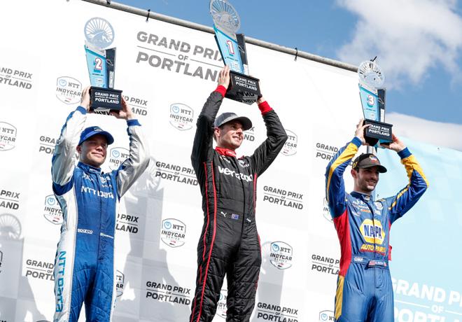 IndyCar - Portland 2019 - Carrera - Felix Rosenqvist - Will Power - Alexander Rossi en el Podio