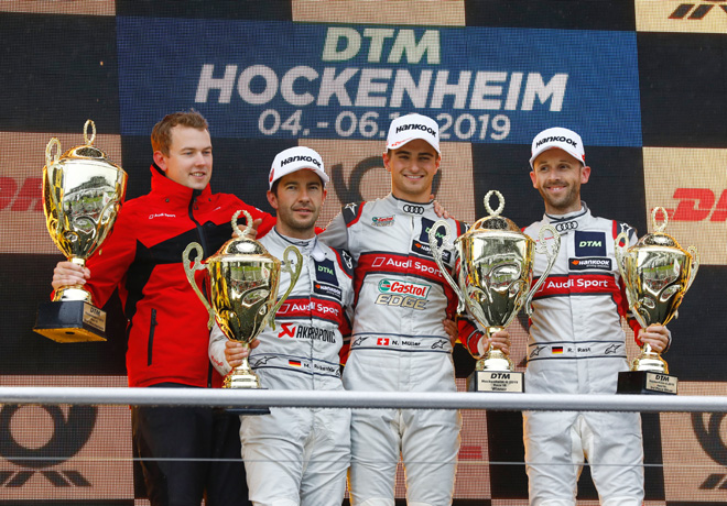 DTM - Hockenheim II 2019 - Carrera 2 - Mike Rockenfeller - Nico Muller - Rene Rast en el Podio