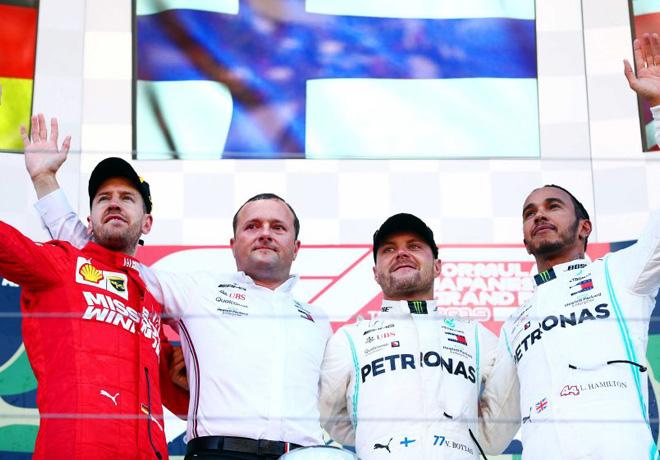 F1 - Japon 2019 - Carrera - Sebastian Vettel - Valteri Bottas - Lewis Hamilton en el Podio