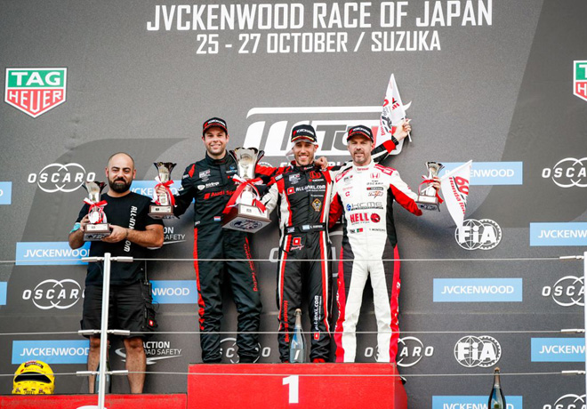 WTCR - Suzuka - Japon 2019 - Carrera 1 - Niels Langeveld - Esteban Guerrieri - Tiago Monteiro en el Podio