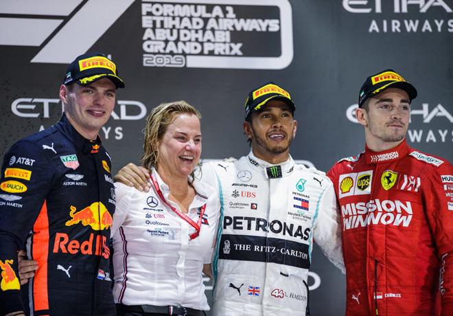 F1 - Abu Dhabi 2019 - Carrera - Max Verstappen - Lewis Hamilton - Charles Leclerc en el Podio