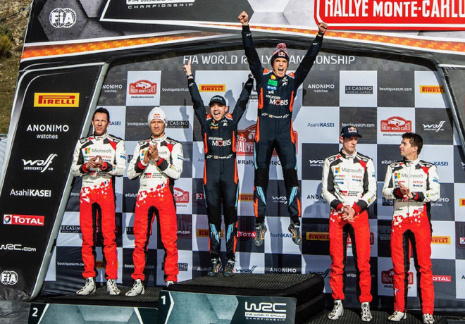 WRC - Monaco 2020 - Final - Sebastien Ogier - Thierry Neuville - Elfyn Evans en el Podio