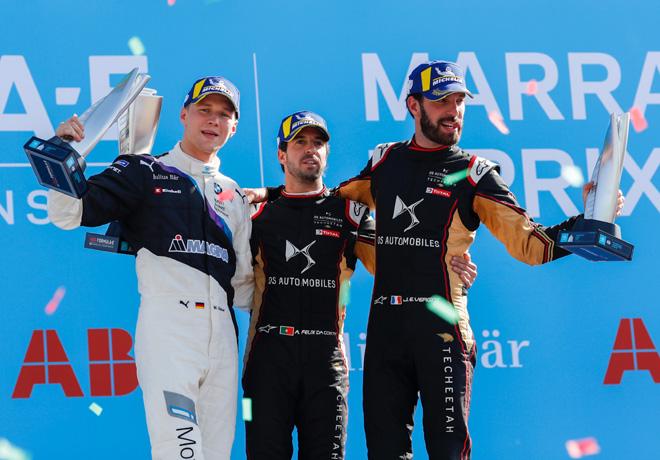 Formula E - Marrakech - Marruecos 2020 - Carrera - Max Guenther - Antonio Felix da Costa - Jerome DAmbrosio en el Podio